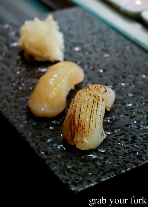 Raw scallop sushi and seared scallop sushi at Sokyo at The Star, Pyrmont