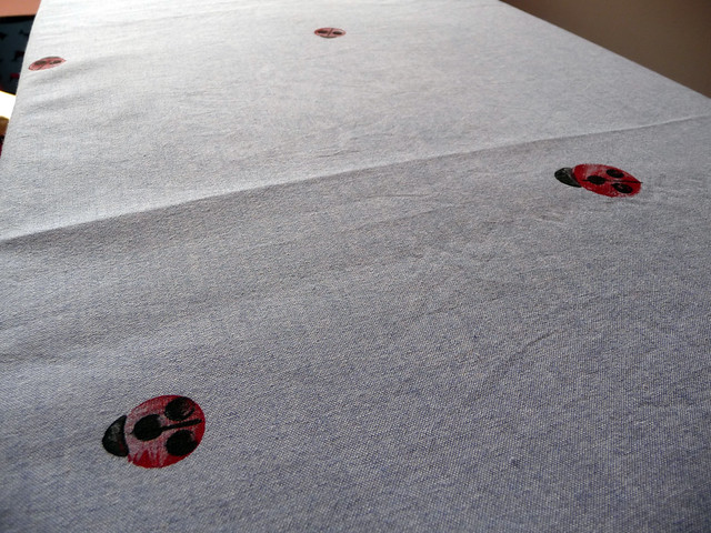 Hand Printed Fabric Swap Ladybird Chambray