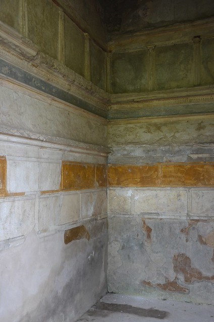A cubiculum decorated in the first style with bands of stucco in the House of the Ship Europa, Pompeii