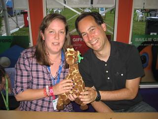 Cat Clarke, David Levithan, and Giraffe
