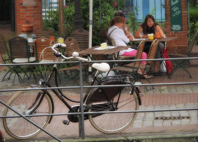 Relaxed city life in the old town Stade outside Hamburg, Germany