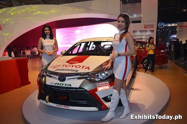 Customized Toyota Vios into race car with girl models