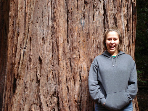 Emily in front of a coast redwood in Muir Woods