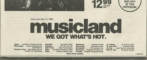 05/08/88 Lita Ford In-Store @ Musicland at Ridgedale Mall, Minnetonka, MN (Ad - Bottom)