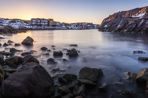 city longexposure winter sunset house snow canada cold building architecture newfoundland evening nikon village harbour stjohns clear nfld quidividi atlanticcanada d600 newfoundlandandlabrador nikond600
