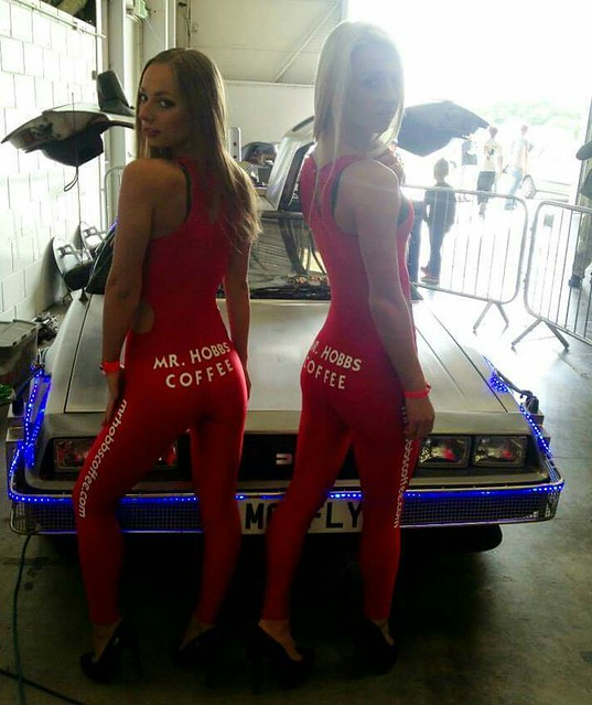 Back to the Future Delorean Supercar a touch of Retro of the Mr Hobbs Coffee Girls working with our Event Team.