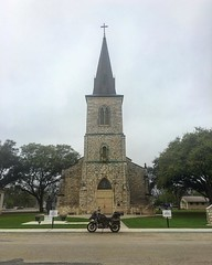 St Louis Catholic Church in Castroville, TX.  Community services began in this spot in 1847...  me and Moses both like this place. Amazing architecture and great history. #church #lent #ridetexas #westtexas #bmwmotorrad #r1200gsa #tripleblack #moses  #exp