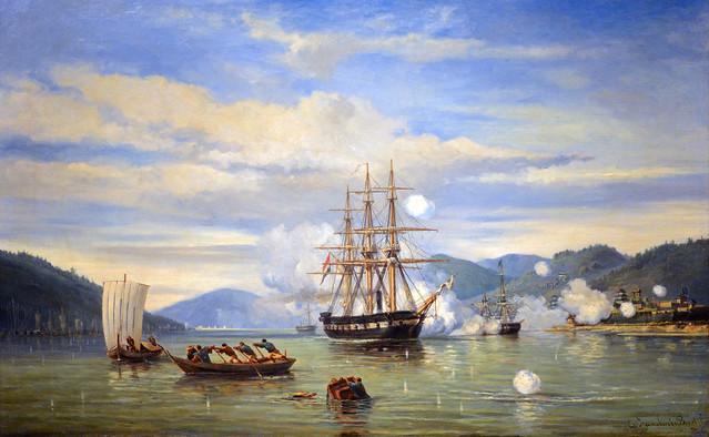 HNLMS Steam Warship Medusa Forcing Passage through the Shimonoseki Strait, Jonkheer Jacob Eduard van Heemskerck van Beest (1824-1894)