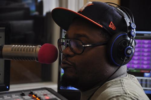 Derrick Freeman on the air. Photo by Leona Strassberg Steiner