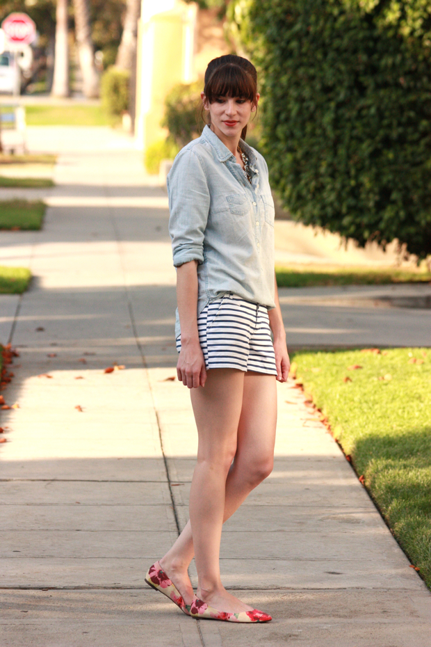 Striped Shorts, Floral Flats 5