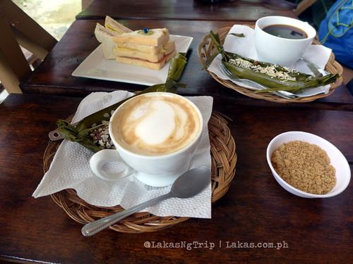 Coffee (131 Pesos), Suman (35 Pesos) & Clubhouse Sandwich (95 Pesos). DDD Habitat Inc., Lorega, Kitaotao, Bukidnon
