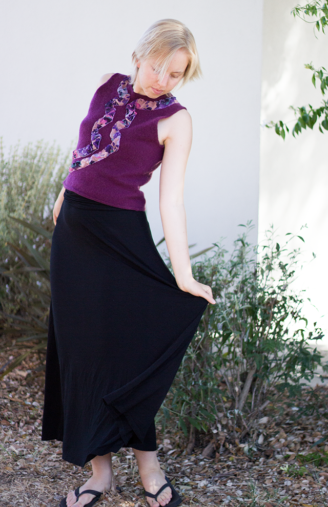 handmade embroidered plum cashmere top, stretchy black maxi skirt