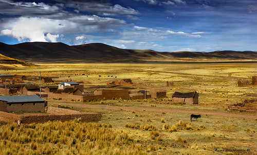 blue sky mountains yellow clouds landscape bolivia andes oruro andeanvillage highandes canon550d