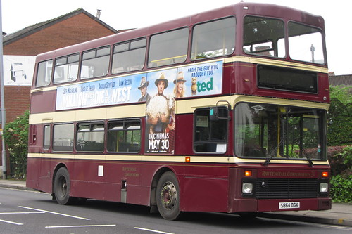 Rosso, Volvo Olympian, S864 DGX, Market Street, Hyde (front view)