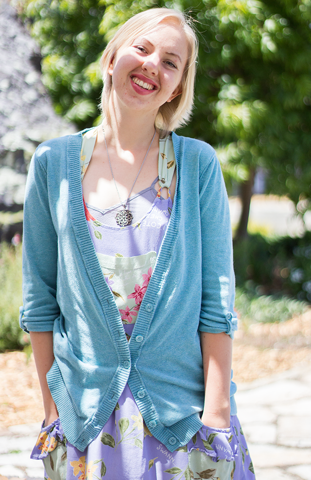 slouchy pastel blue cardigan, lavender smock dress