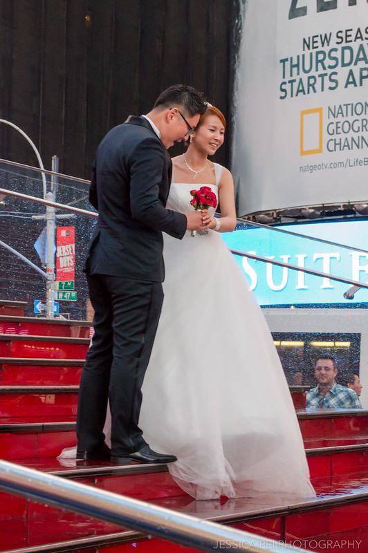 Wedding Bride Groom on Red Steps at Times Square