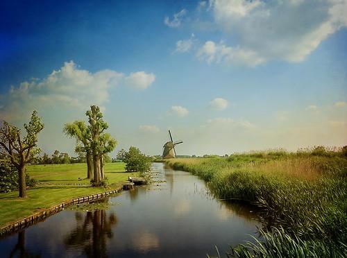holland netherlands windmill landscape canal nederland molen mulino duthc hazerswoudedorp