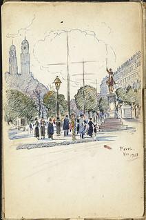 Drawing of a boulevard in Paris, France [Sketchbook 12, folio 37r] / Dessin d'un boulevard parisien, France [Carnet de croquis 12, folio 37r]