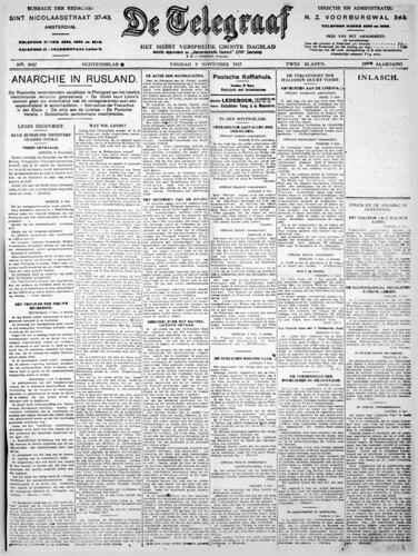 De Telegraaf, 9 November 1917 (Collection National Library of the Netherlands)