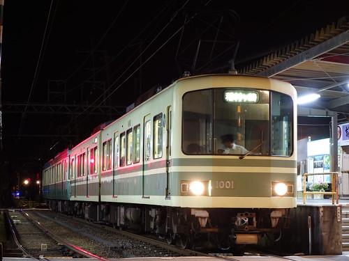 江ノ電1001F+21F稲村ヶ崎行き最終電車@長谷