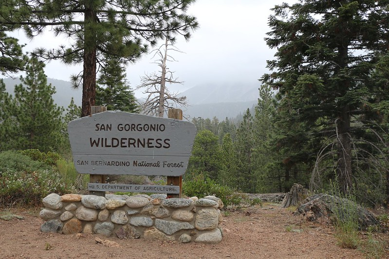 San Gorgonio Wilderness Sign at Poopout Hill - but storm clouds block our view of the peak
