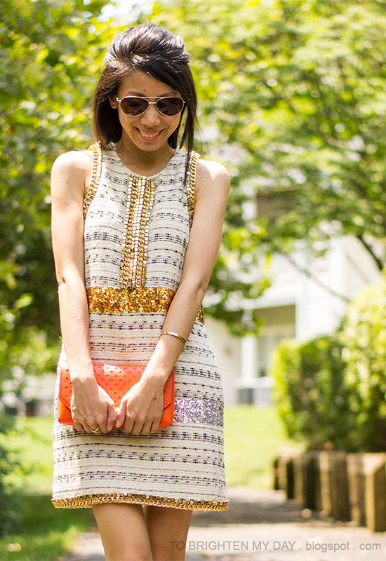 sequins + tweed dress, orange clutch