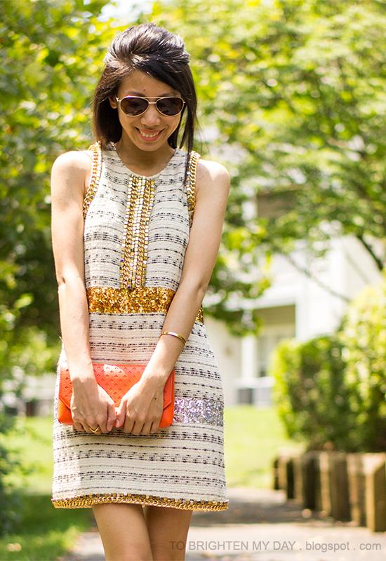 sequins + tweed dress, orange clutch