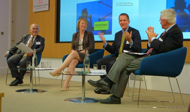 Stefan Stern, Visiting Prof. Cass Business School, Prof. Laura Empson, David Morley, Worldwide Senior Partner, Allen & Overy, Mike Cullen, Global Managing Partner (People) EY, Professional services panel 17Jun14 from RAW _DSC7516