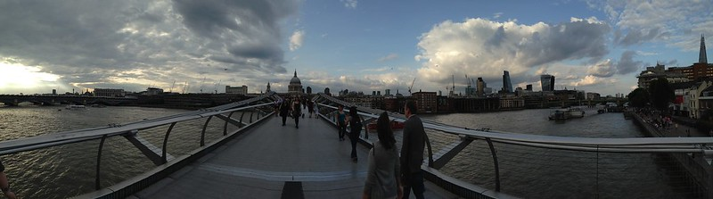 Millennium Bridge panorama with St. Pauls in the distance