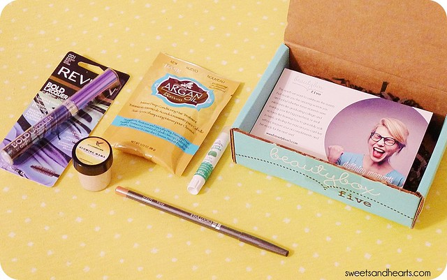 Beauty Box 5 Review & Swatches July Unboxing 2014, with Revlon Bold Lacquer mascara, Hask argan oil deep conditioning hair treatment, Body Drench candy licious lip balm, Anna Naturals face & body scrub, Starlooks lip liner in Tipsy