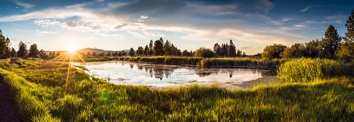 sunset panorama water grass oregon unitedstates panoramic sunriver sunriverresort