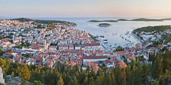Hvar Town at sunset from the Spanish Fort (Tvrdava Spanjola), pictures of Croatia by travel photographer and panoramic photographer Matthew Williams-Ellis