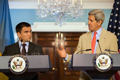 U.S. Secretary of State John Kerry and Ukrainian Foreign Minister Pavlo Klimkin hold a joint press conference at the U.S. Department of State in Washington, D.C., on July 29, 2014. [State Department photo/ Public Domain]