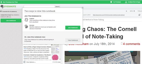sharing notebooks in evernote