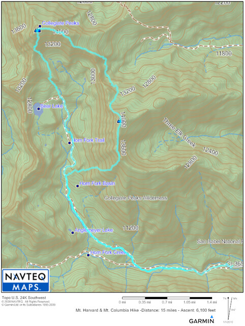 Mt. Harvard to Mt. Columbia Topo Map