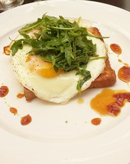 Pain Perdu - Brioche, sunny eggs, confit pork belly (of course) and arugula with cider shallot gastrique. (Humboldt Farm Fish Wine.)