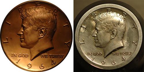 964 Kennedy Half Dollar bronze galvano and coin die