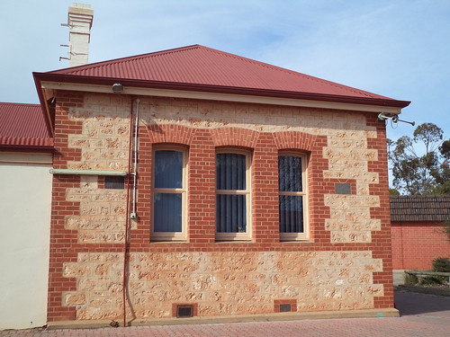Balaklava School. Opened 1877 after the Education Act of 1875. Local limestone and brick quoins. South Australia.
