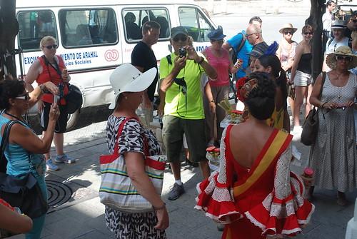 AionSur 14921409600_c7aea71b16_d Reina y damas del 2013 reparten aceitunas en el centro de Sevilla para promocionar la Feria del Verdeo Feria del Verdeo