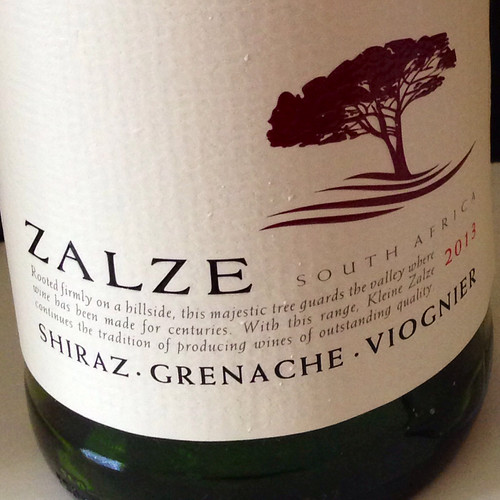 Zalze Shiraz Grenache Viognier 2013. Red wine. South African wine.