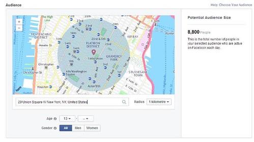 Радиус объявления от Facebook