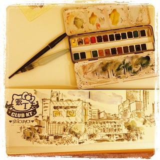 #japon #shibuya #urbansketch #carbon #watercolor