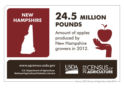 It may be The Granite State, but apple trees find room to grow in New Hampshire. Check back next week as we look at another state and the results of the 2012 Census of Agriculture.
