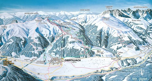 Obertilliach - mapa sjezdovek