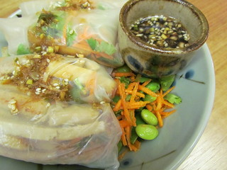 Lemongrass Tofu and Snow Pea Spring Rolls; Sesame-Scallion Dipping Sauce; Edamame and Snow Pea Salad with Lime-Ginger Dressing