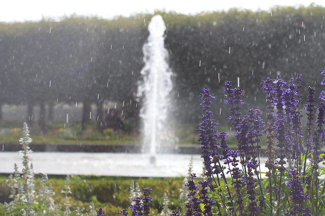 fountain and rain