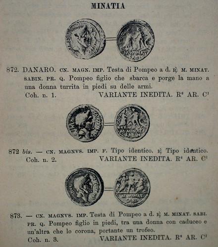 Bartolomeo Borghesi coll. 1893 Sangiorgi sale Minatia denarii ills. in text