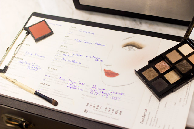 Bobbi Brown in store appointment face chart