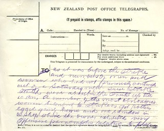 Waihi Strike Telegrams from Police Commissioner John Cullen, 10 November 1912 (2 of 3)