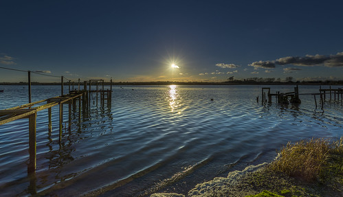 christchurch harbour sea sun sunset seascape jetty ripples reflections